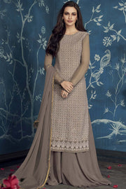 Faux Georgette Embroidered Salwar Kameez in Beige