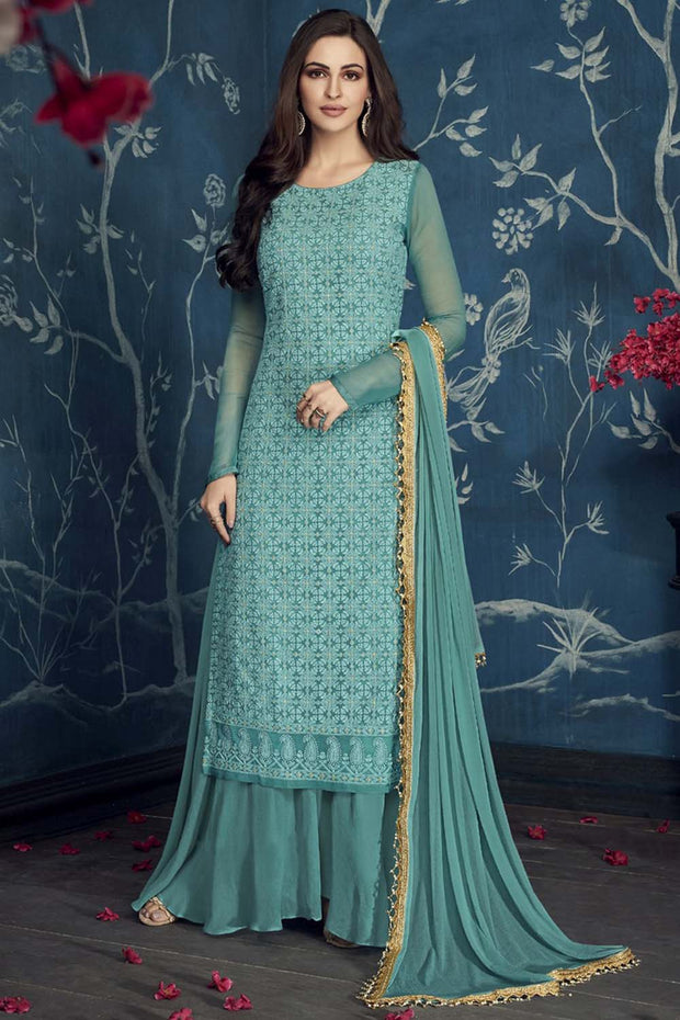 Faux Georgette Embroidered Salwar Kameez in Aqua Blue