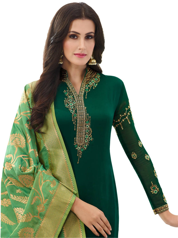 Stylee Lifestyle Embroidered Satin Dress Material Set in Green