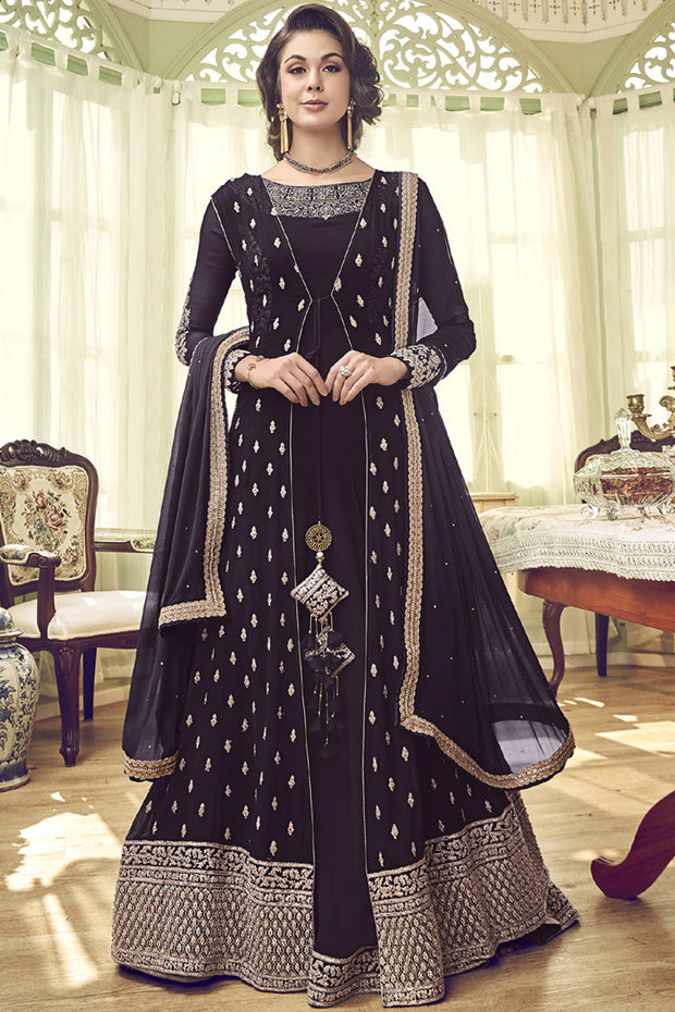 Faux Georgette Embroidered Dress Material in Dark Brown