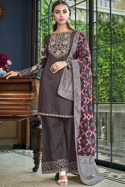 Satin Embroidered Dress Material in Brown