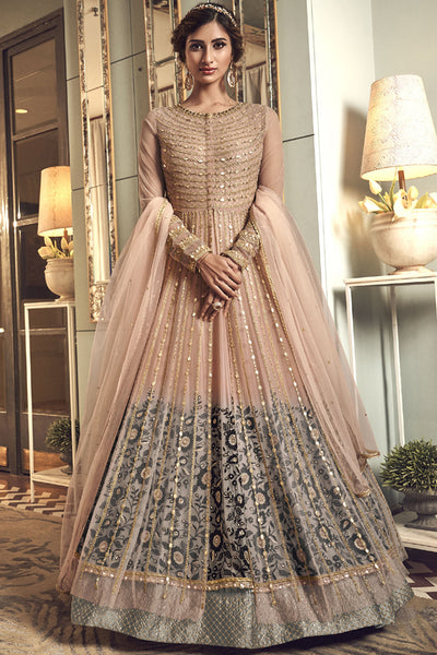 Net Embroidered Dress Material in Cream