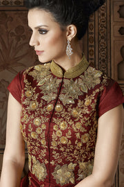 Art Silk Embroidered Dress Material in Maroon
