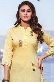 Rayon Embroidered Top Set in Light Yellow