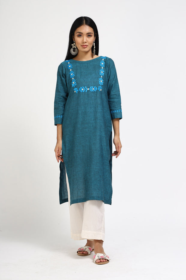 Blended Cotton Straight Kurta in Teal Blue