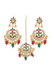 Alloy Maang Tikka With Earring Set