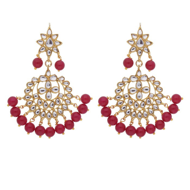 Alloy Maang Tikka With Earring Set in Red