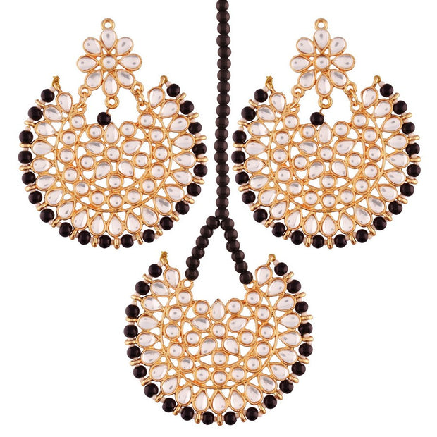 I Jewels Women's Alloy Earring Set with Maang Tikka in Black
