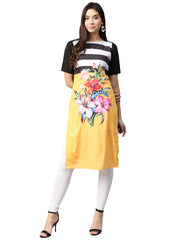 Trend Factory Polyester Kurta in Yellow