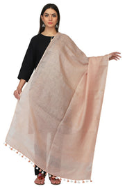 Linen Handloom Dupatta in Brown