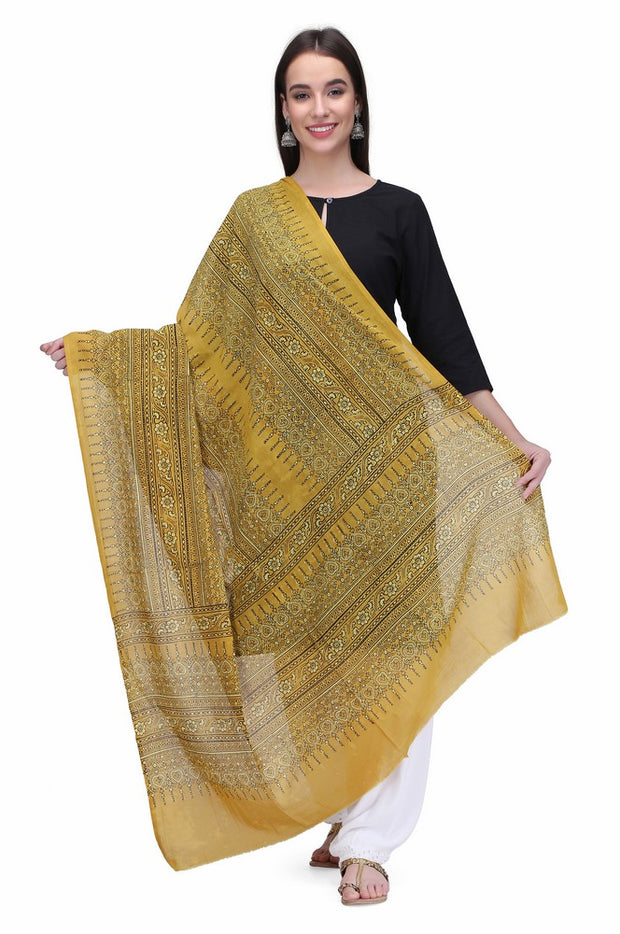 Cotton Handloom Dupatta in Mustard