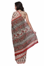 Cotton Handloom Hand Block Printed Saree in Beige and Brown