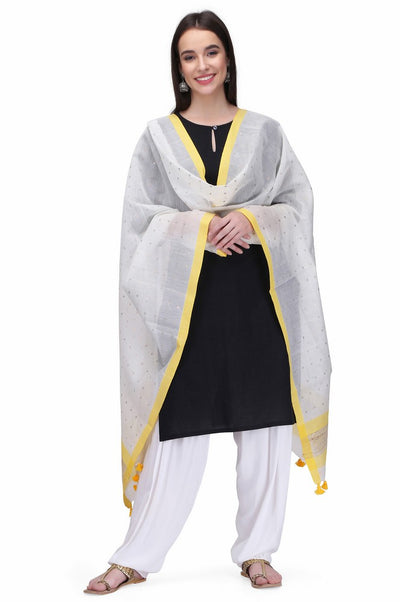 Art Silk Cotton Handloom Dupatta in White
