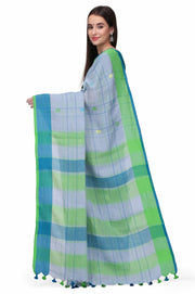 Linen Handloom Saree in Grey and Green