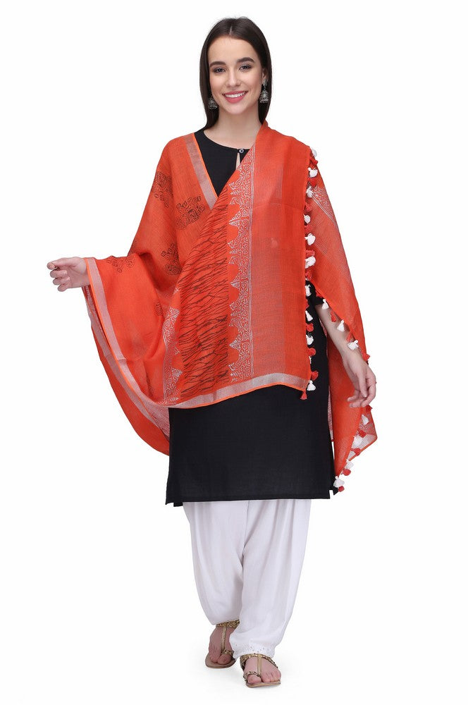 Linen Handloom Hand Block Printed Dupattas in Orange