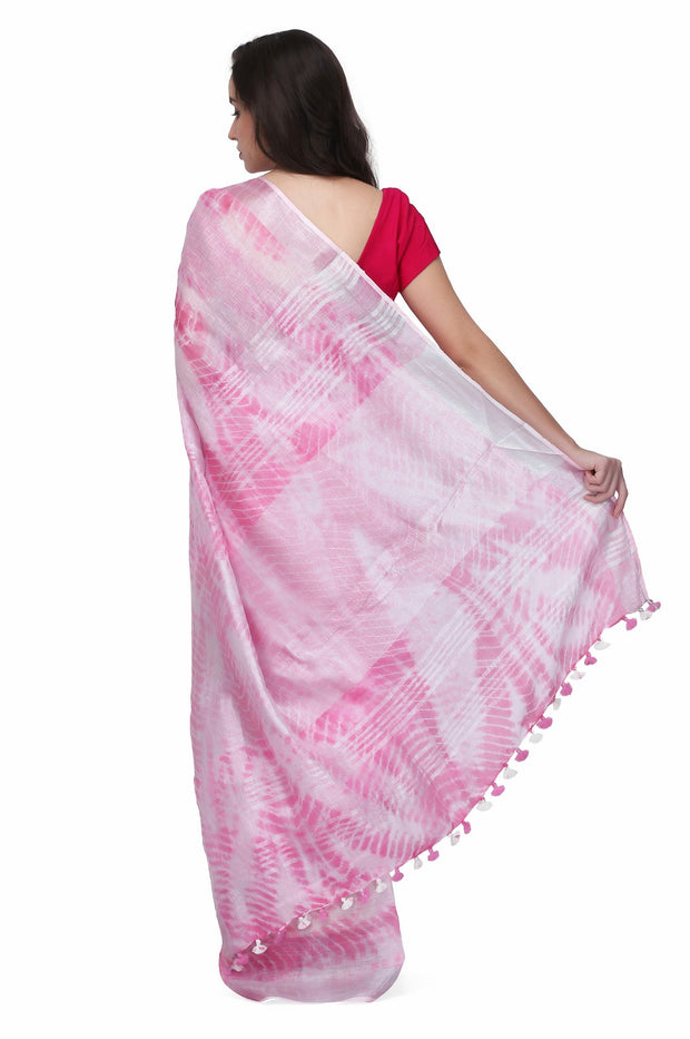 The Weave Traveller Linen Handloom Saree in Pink