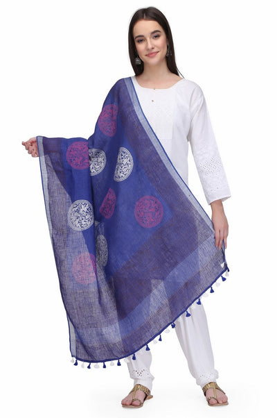 Linen Handloom Hand Block Printed Dupattas in Purple
