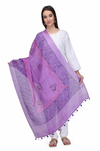Linen Handloom Hand Block Printed Dupattas in Light Purple