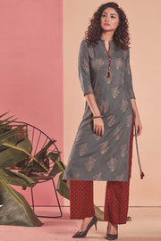 Rayon Printed Kurti Set in Grey