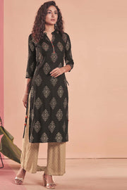Rayon Printed Kurti Set in Black