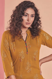 Rayon Printed Kurti Set in Mustard