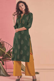 Rayon Printed Kurti Set in Dark Green