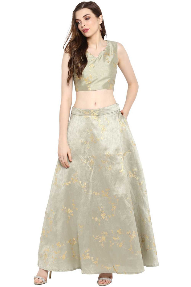 Ahalyaa Art Silk Foil Print Top and Skirt in Grey