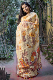 Linen Handloom Saree in Light Yellow