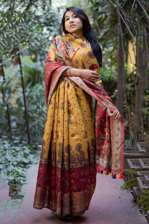 Linen Handloom Saree in Chrome Yellow