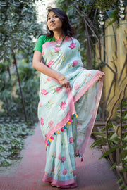 Unitex Linen Handloom Saree in Blue
