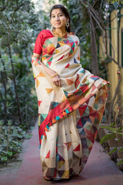 Unitex Linen Handloom Saree in Yellow