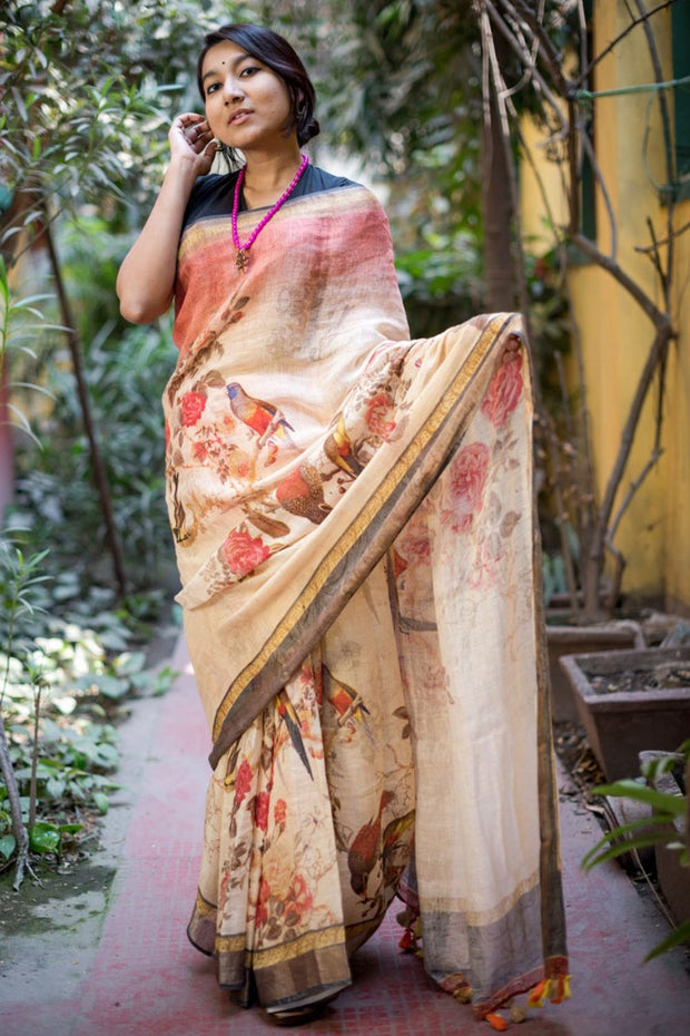 Linen Handloom Saree in Cream
