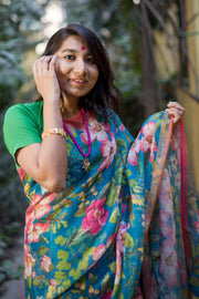 Linen Handloom Saree in Blue