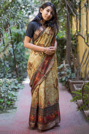 Unitex Linen Handloom Saree in Light Green