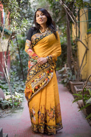 Linen Handloom Saree in Yellow