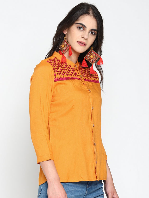 Women's Viscose Rayon Casual Shirt in Yellow