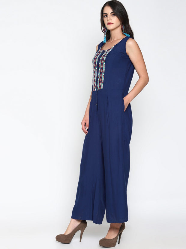 Women's Viscose Rayon Jumpsuit in Blue