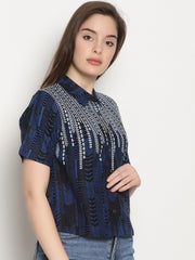 Women's Viscose Rayon Top in Blue