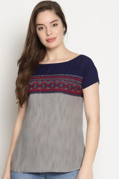 Women's Viscose Rayon Top in Grey