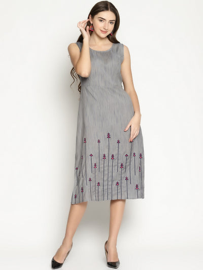 Buy Women's Viscose Rayon Dress in Grey at KarmaPlace