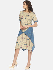 Women's Blended Cotton A Line Wrap Dress in Cream