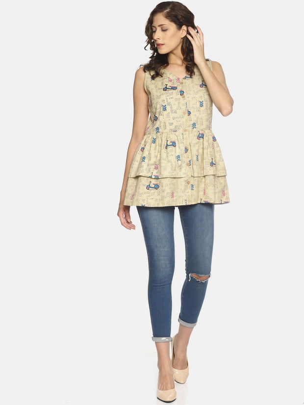 Women's Blended Cotton Fit And Flare Top in Cream