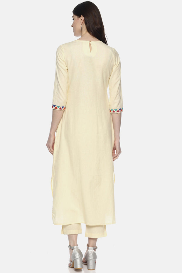 Blend Cotton Solid Kurta in Off White