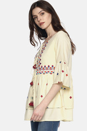 Blend Cotton Solid Shrug in Off White
