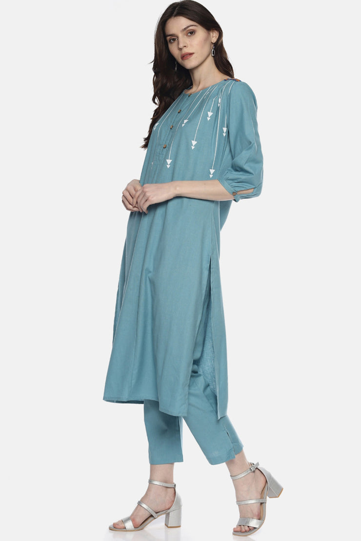 Blend Cotton Solid Kurta in Blue