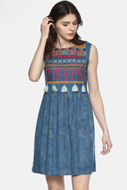 Blend Cotton Printed Dress in Grey