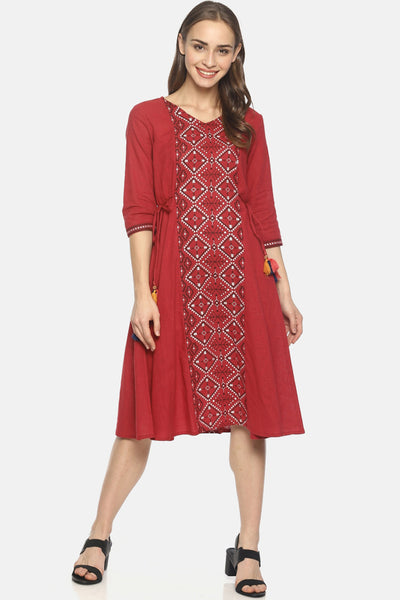 Blended Cotton Dress in Red
