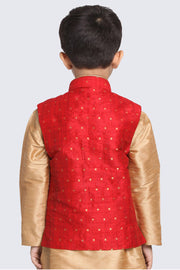 Boy's Cotton Art Silk Nehru Jacket in Maroon