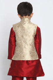 Boy's Cotton Art Silk Nehru Jacket in Gold