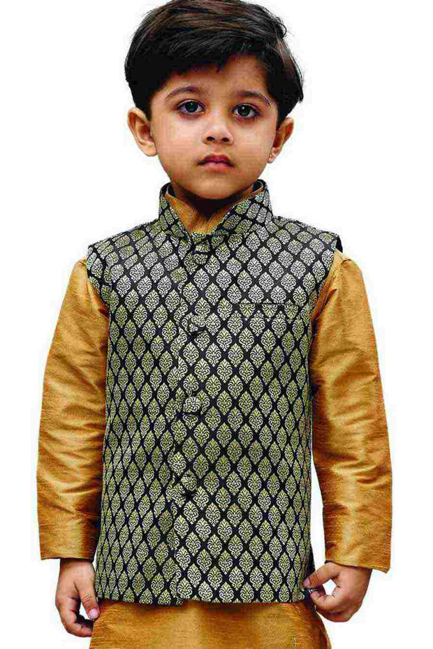 Vastramay Boy's Silk Woven Design Nehru Jacket in Black